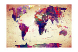 Map of the World Vintage Giclee Print by Mark Ashkenazi