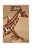 Giraffe Zoo Poland Giclée-Druck von  Vintage Apple Collection