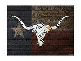Longhorn Art with Flag Reproduction procédé giclée par  Design Turnpike