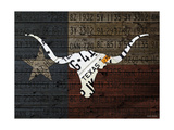 Longhorn Art with Flag Giclee Print by  Design Turnpike