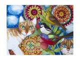 Mandala Cats Giclée-vedos tekijänä Oxana Zaika