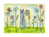 Blue Cat in the Flower Garden Reproduction procédé giclée par  Wyanne