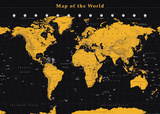 World Map Gold On Black Posters