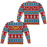 Long Sleeve: Wonder Woman- Winter Holiday Sweater (Front/Back) Long Sleeves