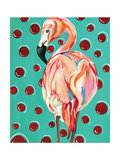 Polka Dot Flamingo Print by Anne Seay