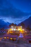 Tangboche Monestery at Night, Khumbu Valley, Nepal Fotografisk tryk af John Burcham