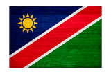 Namibia Flag Design with Wood Patterning - Flags of the World Series Prints by Philippe Hugonnard
