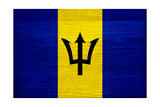Barbados Flag Design with Wood Patterning - Flags of the World Series Prints by Philippe Hugonnard