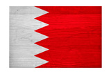 Bahrain Flag Design with Wood Patterning - Flags of the World Series Prints by Philippe Hugonnard