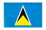 St. Lucia Flag Design with Wood Patterning - Flags of the World Series Posters by Philippe Hugonnard