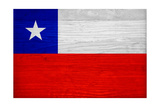 Chile Flag Design with Wood Patterning - Flags of the World Series Prints by Philippe Hugonnard