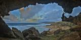 A Cave Overlooking Mo'Omomi Beach on Molokai's North Shore Fotografie-Druck von Richard A. Cooke
