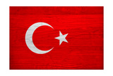 Turkey Flag Design with Wood Patterning - Flags of the World Series Print by Philippe Hugonnard