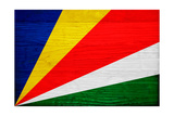 Seychelles Flag Design with Wood Patterning - Flags of the World Series Plakater af Philippe Hugonnard