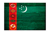 Turkmenistan Flag Design with Wood Patterning - Flags of the World Series Prints by Philippe Hugonnard