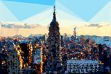 Low Poly New York Art - Skyline Sunset Art by Philippe Hugonnard