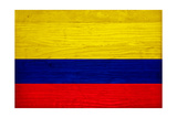 Colombia Flag Design with Wood Patterning - Flags of the World Series Prints by Philippe Hugonnard