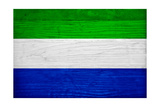 Sierra Leone Flag Design with Wood Patterning - Flags of the World Series Prints by Philippe Hugonnard