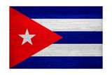 Cuba Flag Design with Wood Patterning - Flags of the World Series Art by Philippe Hugonnard