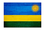 Rwanda Flag Design with Wood Patterning - Flags of the World Series Posters af Philippe Hugonnard