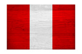 Peru Flag Design with Wood Patterning - Flags of the World Series Print by Philippe Hugonnard