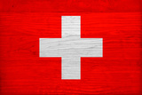 Switzerland Flag Design with Wood Patterning - Flags of the World Series Print by Philippe Hugonnard