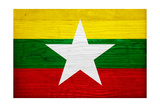 Myanmar Flag Design with Wood Patterning - Flags of the World Series Prints by Philippe Hugonnard