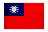 Taiwan Flag Design with Wood Patterning - Flags of the World Series Print by Philippe Hugonnard