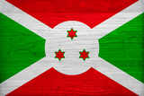 Burundi Flag Design with Wood Patterning - Flags of the World Series Print by Philippe Hugonnard