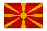 Macedonia Flag Design with Wood Patterning - Flags of the World Series Posters by Philippe Hugonnard