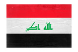 Iraq Flag Design with Wood Patterning - Flags of the World Series Prints by Philippe Hugonnard