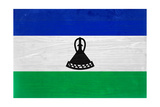Lesotho Flag Design with Wood Patterning - Flags of the World Series Prints by Philippe Hugonnard
