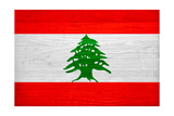 Lebanon Flag Design with Wood Patterning - Flags of the World Series Posters by Philippe Hugonnard