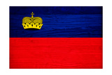 Liechtenstein Flag Design with Wood Patterning - Flags of the World Series Prints by Philippe Hugonnard