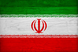 Iran Flag Design with Wood Patterning - Flags of the World Series Print by Philippe Hugonnard