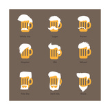 Beer Glass Hipster Character - Barflies. Beer Types Stylized Vector Illustrations. Plakater af  radoma