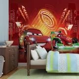Disney Cars - Lightning McQueen & Bernoulli Neon - Vlies Non-Woven Mural Bildtapet