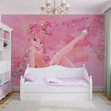 Disney Fairies - Pink Tinker Bell - Vlies Non-Woven Mural Non Woven Wallpaper Mural