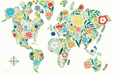 Floral World White Posters av Michael Mullan