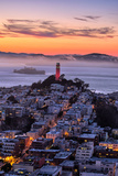 Classic Coit Tower After Sunset, San Francisco, Cityscape, Urban View Fotografisk tryk af Vincent James