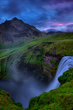 Mystery and Mood at Skógafoss, Waterfall Iceland Fotografie-Druck von Vincent James