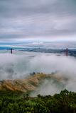 Blustery Cityscape at Beautiful Golden Gate Bridge, San Francisco Bay Fotografisk trykk av Vincent James
