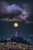Full Moon Mood Coit Tower, San Francisco Iconic Travel Photographic Print by Vincent James