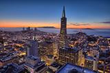 Downtown After Sunset, San Francisco, Cityscape, Urban View Fotografisk trykk av Vincent James