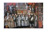 Peru, Cusco City, the Archbishop Palace, Paintings of Cuzco School Impressão giclée