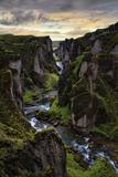 Ice Age Dark, Amazing Epic Fjaðrárgljúfur Canyon Iceland Fotografie-Druck von Vincent James