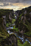 Ice Age Dark, Amazing Epic Fjaðrárgljúfur Canyon Iceland Photographic Print by Vincent James