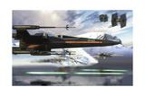 New X-Wing Model Cruising over a Lake to Attack the Empire Kunstdrucke von  Stocktrek Images