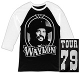 Raglan: Waylon Jennings- Tour 79 White Logo Raglans