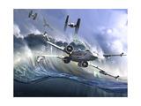 Battle on the Fictional Ocean Planet of Kamino Kunstdruck von  Stocktrek Images